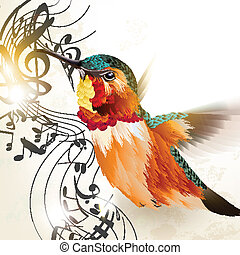 Music vector background with hummin - Vector illustration...