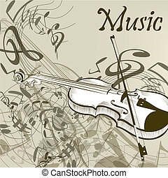 Music vector background with violin and notes in vintage...