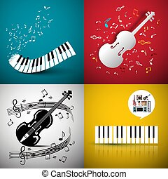 Music Vector Backgrounds with Violin and Piano Keyboard