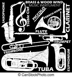 Music - Icons about woodwind and brasswind music instrument...