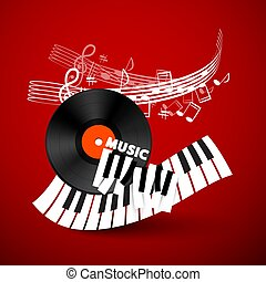 Music Vector Design Background with Vinyl Record, Piano Keyboard and Staff on Red Background