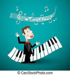 Music Vector Design with Abstract Piano Keyboards, Staff and Singer