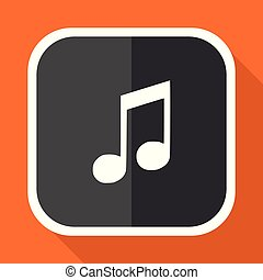 Music vector icon. Flat design square internet gray button on orange background.