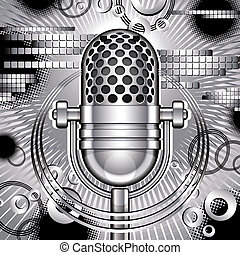 Music vector illustration with retro style microphone.