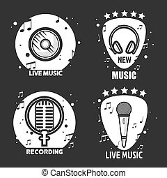 Music vector labels headphone, microphone and loudspeaker for recording company