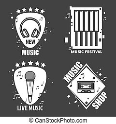 Music vector labels headphones, microphone for recording company festival