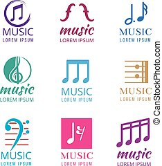 Music vector logos set
