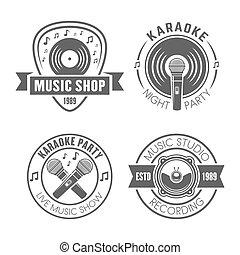 Music vector monochrome labels, badges, emblems
