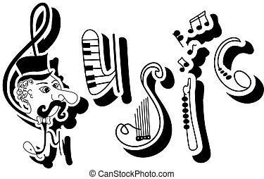 Music - Vector picture with funny written word MUSIC