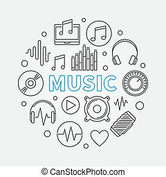 Music vector round illustration made with outline icons