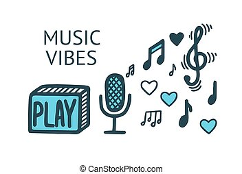 Music vibes elements. Black and white vector illustration