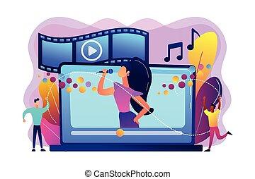 Music video concept vector illustration.