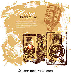 Music vintage background. Hand drawn illustration. Splash blob retro design with speakers
