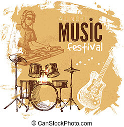 Music vintage background. Splash blob retro design. Music ...