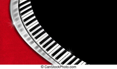 Piano keyboard on black and red velvet background and metal wave - business card music