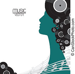 The music vinyl poster with silhouette woman background.