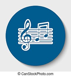 Music violin clef sign. G-clef and notes G, H. Vector. White contour icon in dark cerulean circle at white background. Isolated.