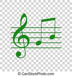 Music violin clef sign. G-clef and notes G, H. Dark green icon on transparent background.