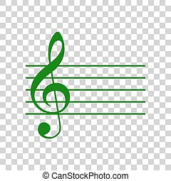 Music violin clef sign. G-clef. Dark green icon on transparent background.
