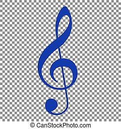 Music violin clef sign. G-clef. Treble clef. Blue icon on transp