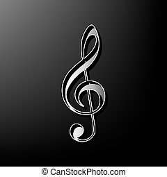 Music violin clef sign. G-clef. Treble clef. Vector. Gray 3d printed icon on black background.