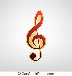 Music violin clef sign. G-clef. Treble clef. Vector. Red icon on gold sticker at light gray background.
