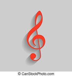 Music violin clef sign. G-clef. Treble clef. Vector. Red icon with soft shadow on gray background.
