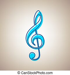 Music violin clef sign. G-clef. Treble clef. Vector. Sky blue icon with defected blue contour on beige background.