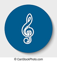 Music violin clef sign. G-clef. Treble clef. Vector. White contour icon in dark cerulean circle at white background. Isolated.