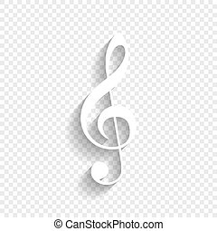 Music violin clef sign. G-clef. Treble clef. Vector. White...