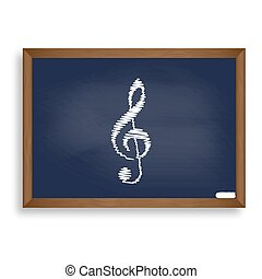 Music violin clef sign. G-clef. Treble clef. White chalk icon on
