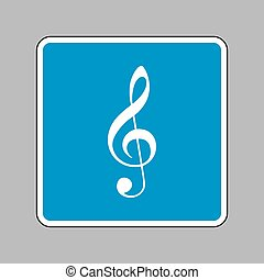 Music violin clef sign. G-clef. Treble clef. White icon on blue