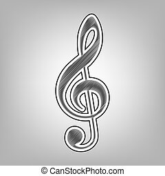 Music violin clef sign. G-clef. Treble clef. Vector. Pencil sketch imitation. Dark gray scribble icon with dark gray outer contour at gray background.