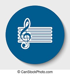 Music violin clef sign. G-clef. Vector. White contour icon in dark cerulean circle at white background. Isolated.