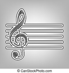 Music violin clef sign. G-clef. Vector. Pencil sketch imitation. Dark gray scribble icon with dark gray outer contour at gray background.