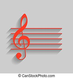 Music violin clef sign. G-clef. Vector. Red icon with soft shadow on gray background.