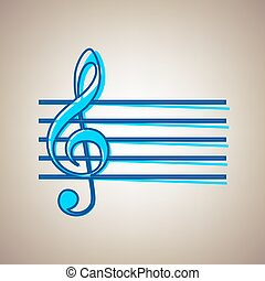 Music violin clef sign. G-clef. Vector. Sky blue icon with defected blue contour on beige background.