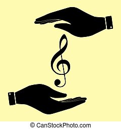 Save or protect symbol by hands. - Music violine clef sign....