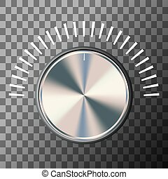 Music volume knob with white scale. Vector illustration.