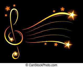 Musical background with stars and shiny gold elements