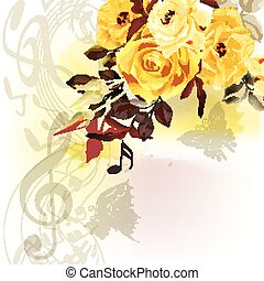 Music watercolor background with notes treble clef and beige roses.eps