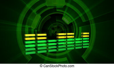 music waveform with looping background
