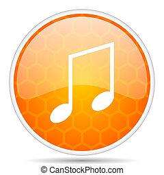 Music web icon. Round orange glossy internet button for webdesign.