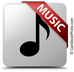 Music white square button red ribbon in corner