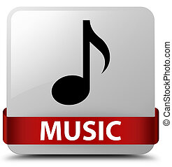 Music white square button red ribbon in middle