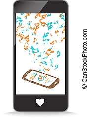 music with note color in smartphone