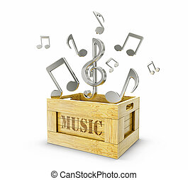 music  - wooden box and chrome notes go out