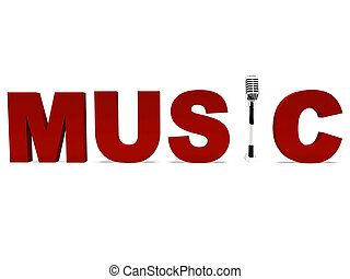 Music Word And Mic Shows Talent Show Or Concert