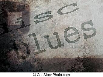 music word blues on film strip