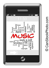 Music Word Cloud Concept on Touchscreen Phone
